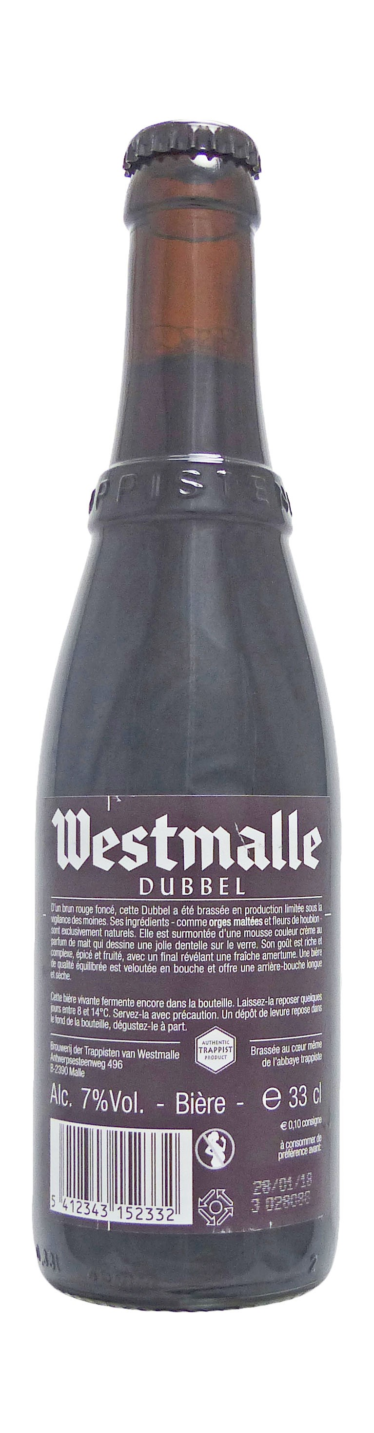 Photo de face de Westmalle Dubbel