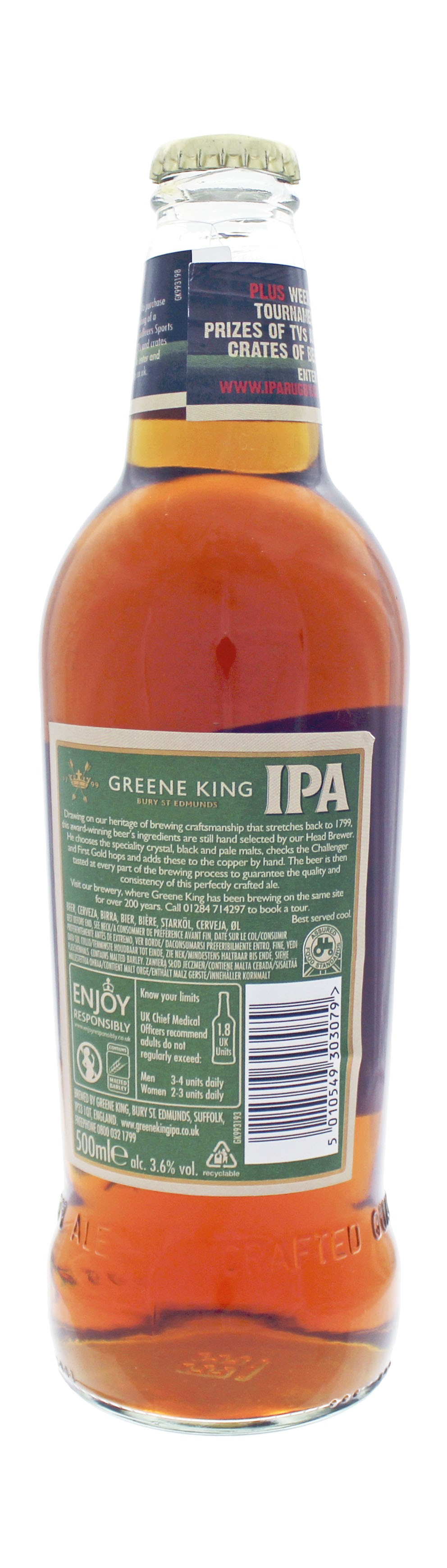Photo de face de Greene King IPA