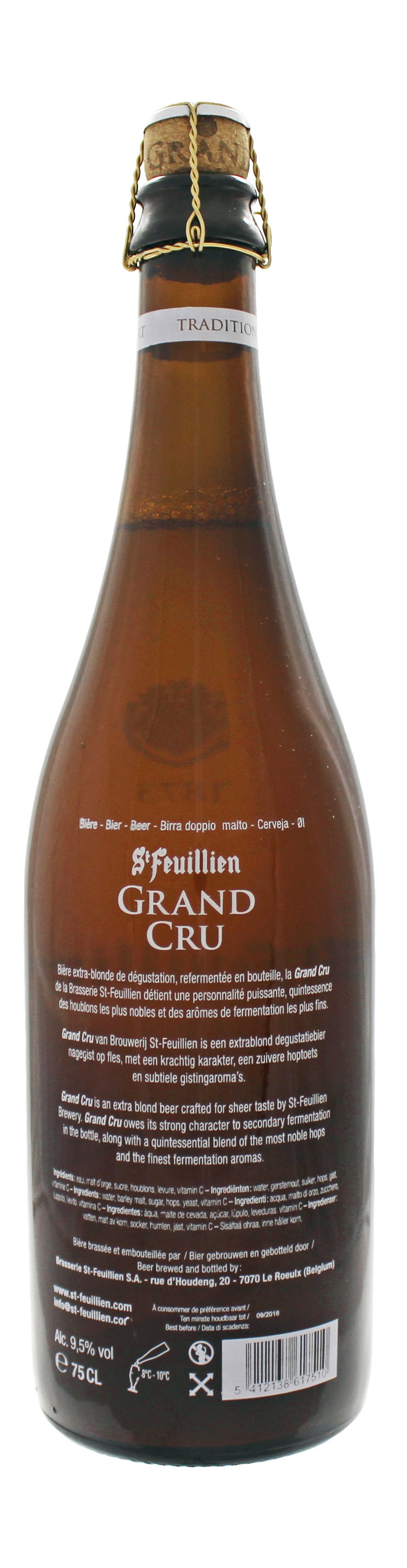 Photo de face de St Feuillien Grand Cru